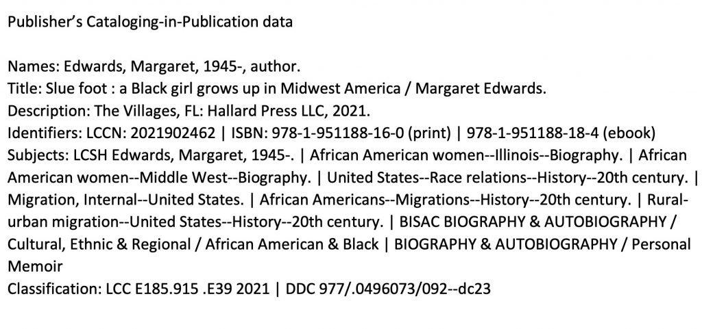 Slue Foot PCIP Publisher's Cataloging-in-Publication