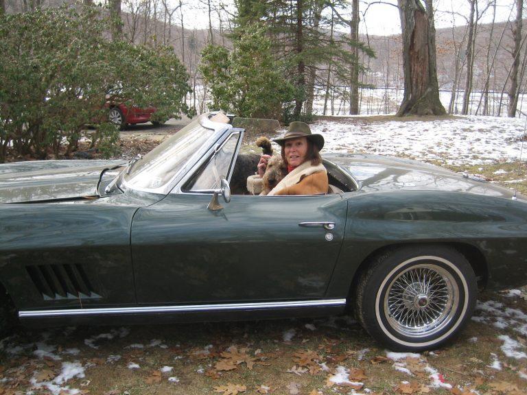Renee Richards in her Corvette