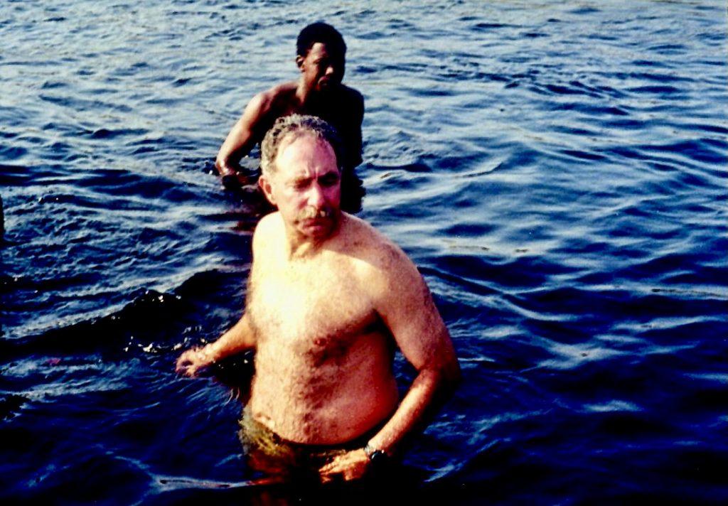 Safari Mike looking over his shoulder